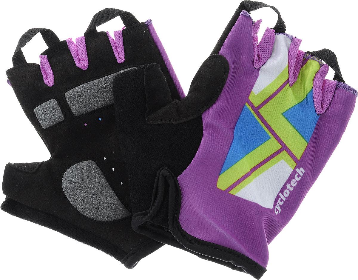 Велоперчатки Cyclotech Canna Bike, цвет: черный, фиолетовый. Размер SCNN-BL-S