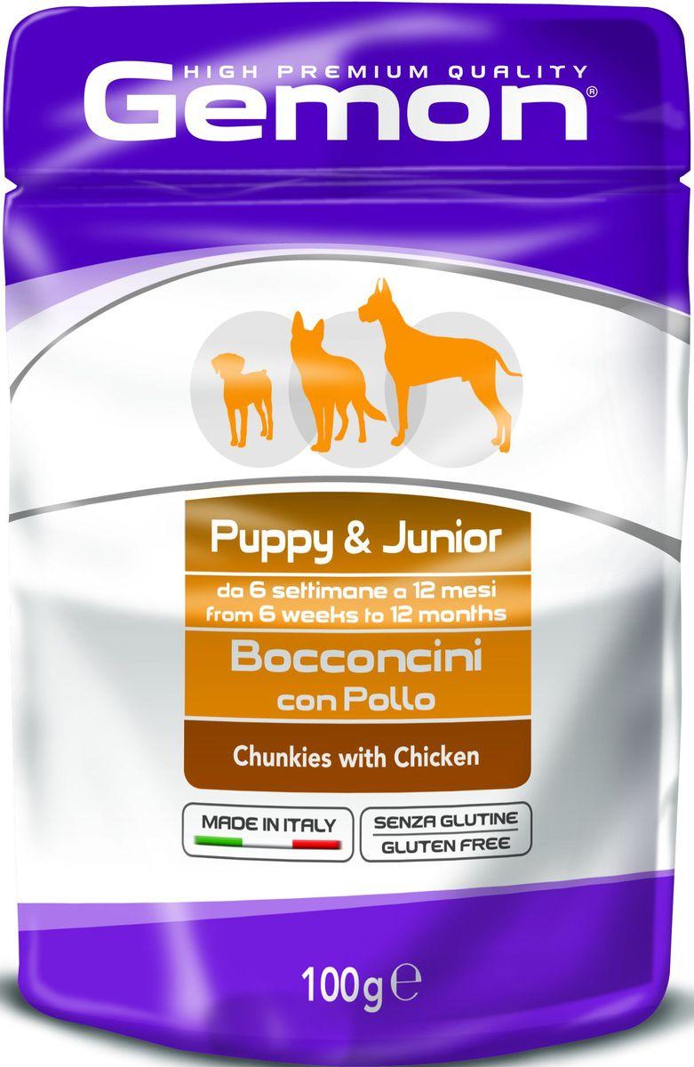 Консервы Monge Gemon Dog Pouch, для щенков, кусочки курицы, 100 г70300636Полноценный, сбалансированный влажный корм с кусочками курицы для щенков в возрасте от 2 до 10 месяцев. Также рекомендуется во время беременности и лактации животного. Корм обогащен белками, витаминами и минералами,необходимыми для здорового роста и развития щенка.Сырой белок 8,5%, сырые масла и жиры 6%, сырая клетчатка 2%, сырая зола 2%, влажность 80%. Витамины и добавки/кг: витамин А 3000 МЕ, витамин D3 250 МЕ, витамин Е (альфа-токоферол ацетат) 5 мг.Мясо и мясные субпродукты 45% (из них курицы мин. 20%, минеральные вещества, рыба и рыбные субпродукты (источник хондроитина), ракообразные и моллюски (источникглюкозамина). Технологические добавки: загустители и желеобразующие компоненты.Подавать корм комнатной температуры. Важно, чтобы животное всегда имело доступ к чистой, свежей воде. Собакам мелких пород необходимо 3-4 пауча в день. При определении суточной нормы кормления соблюдайте рекомендации Вашего ветеринарного врача.
