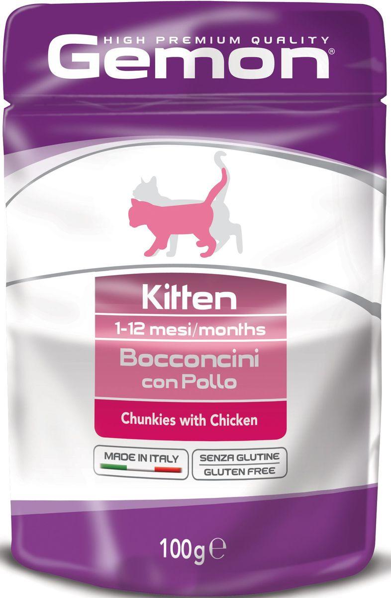 Консервы Monge Gemon Cat Pouch, для котят, кусочки курицы, 100 г70300896Полноценный, сбалансированный влажный корм с кусочками курицы для котят в возрасте от 1 до 12 месяцев. Также рекомендуется во время беременности и лактации животного. Корм обогащен белками, витаминами и минералами,необходимыми для здорового роста и развития котенка.Сырой белок 8%, сырые масла и жиры 7%, сырая клетчатка 0,5%, сырая зола 1,9%. Влажность 80%. Витамины и добавки/кг: витамин А 3000 МЕ, витамин D3 250 МЕ, витамин Е (альфа-токоферол ацетат) 5 мг, таурин 500 мг.Мясо и мясные субпродукты 45% (из них курицы мин.20%), минеральные вещества, рыба и рыбные субпродукты (источник хондроитина), ракообразные и моллюски (источникглюкозамина). Технологические добавки: загустители и желеобразующие компоненты.Подавать корм комнатной температуры. Важно, чтобы животное всегда имело доступ к чистой, свежей воде. Кошкам средних размеров необходимо 2-3 пауча в день.