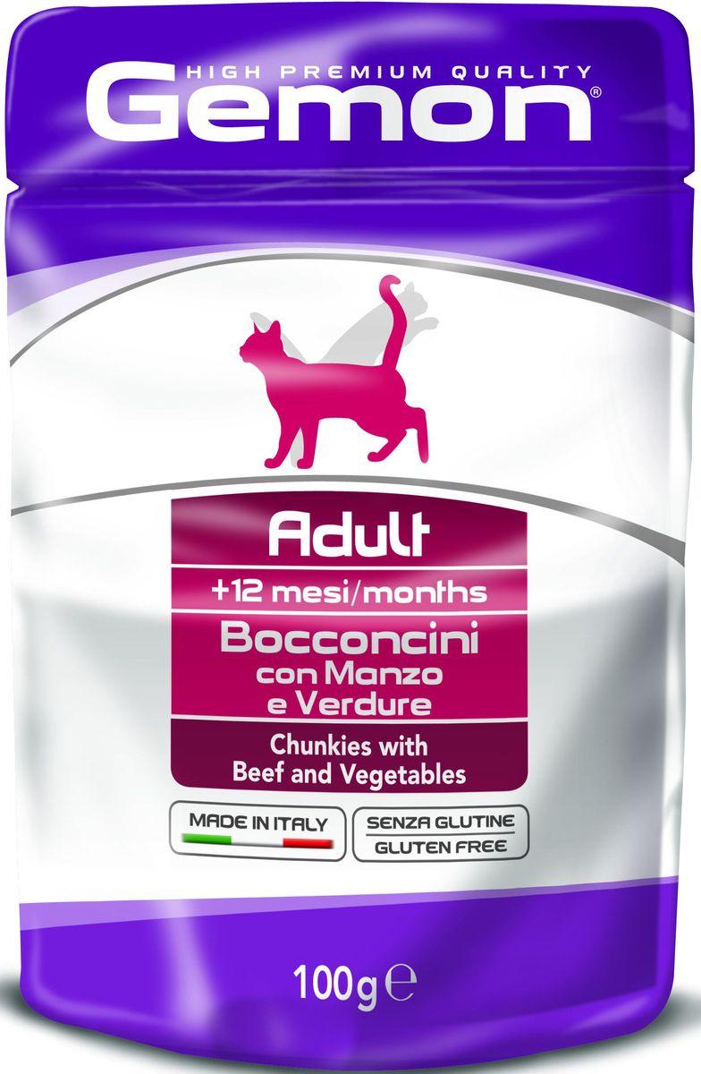 Консервы Monge Gemon Cat Pouch, для кошек, кусочки говядины с овощами, 100 г70300919Полноценный, сбалансированный влажный корм с кусочками говядины и овощами. Специально разработан для ежедневного кормления взрослых кошек с нормальной физической активностью в возрасте 1-10 лет.Сырой белок 8,5%, сырые масла и жиры 6%, сырая клетчатка 0,8%, сырая зола 1,9%. Влажность 79%. Витамины и добавки/кг: витамин А 2000 МЕ, витамин D3 200 МЕ, витамин Е (альфа-токоферол ацетат) 5 мг, таурин 500 мг.Мясо и мясные субпродукты 45% (из нихговядины мин.6%), овощи (горошка мин. 4,2%), минеральные вещества. Технологические добавки: загустители и желеобразующие компоненты.Подавать корм комнатной температуры. Важно, чтобы животное всегда имело доступ к чистой, свежей воде. Кошкам средних размеров необходимо 2-3 пауча в день.