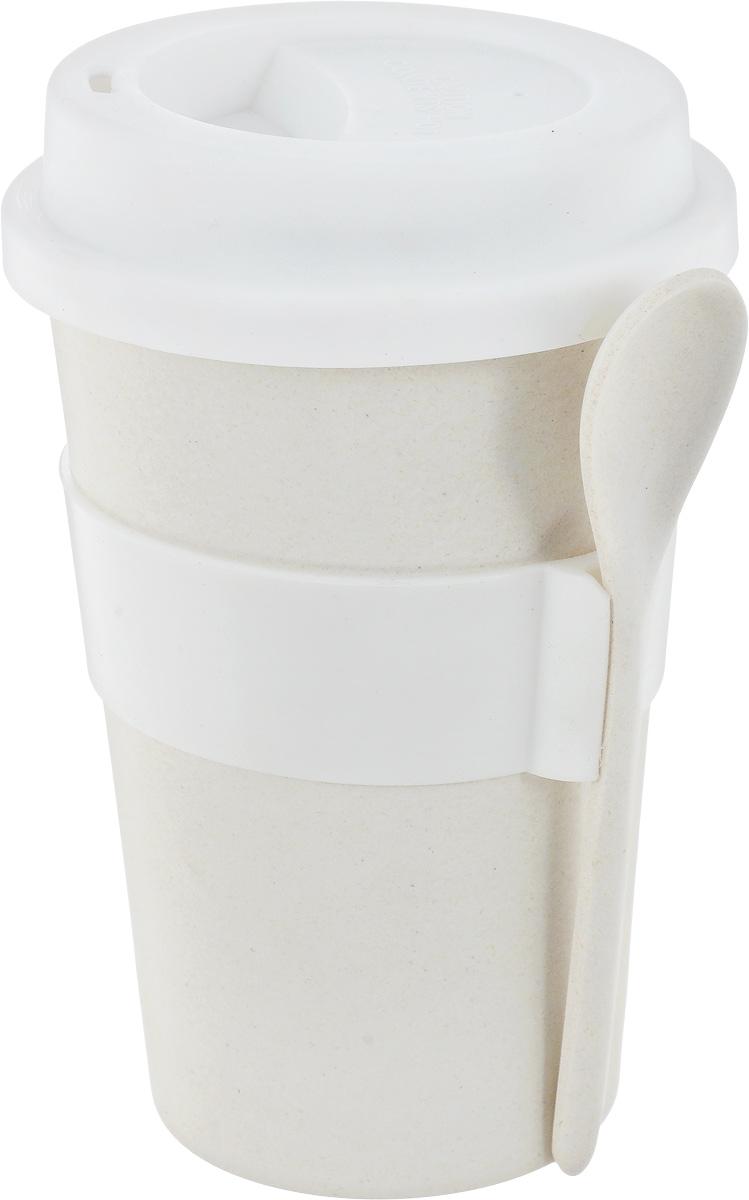 Кружка кофейная BergHOFF Cook&Co, с ложкой, цвет:молочный, 500 мл2800056_молочныйКружка кофейная BergHOFF Cook&Co, с ложкой, цвет:молочный, 500 мл