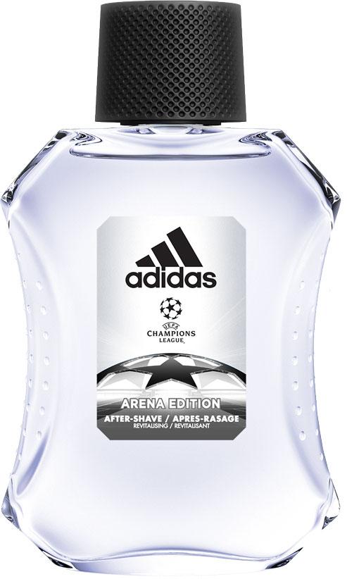 Adidas Освежающий лосьон после бритья UEFA III мужской, 100 мл340005260011Лосьон после бритья adidas Adidas Arena защищает кожу, уменьшает раздражение, заряжает энергией. Аромат раскрывается нотами бергамота, яблока и розмарина. Они придают композиции взрывную свежесть. Сердце строится вокруг звучания герани и жасмина с ненавязчивым аккордом кориандра. Ноты бобов тонка и пачули создают мощную теплую базу аромата, приправленную мускусом, который продлевает звучание парфюмерной композиции.