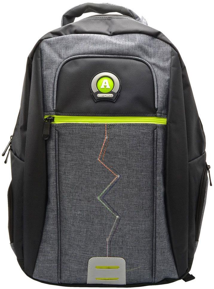 Action! Рюкзак городской цвет черно-серыйAB11124Рюкзак из оригинального материала. напоминающего одежду, с логотипом ACTION. Одно основное отделение на молнии. На лицевой стороне 1 дополнительно отделение на молнии. По бокам-карманы на молнии. Уплотненная рельефная спинка, создающая эффект жесткости для комфортного ношения на спине. Задние регулируемые снизу лямки имеют свтоотражающие полоски безопасности. Уплотненная верхняя ручка. Вместимость 21 литр