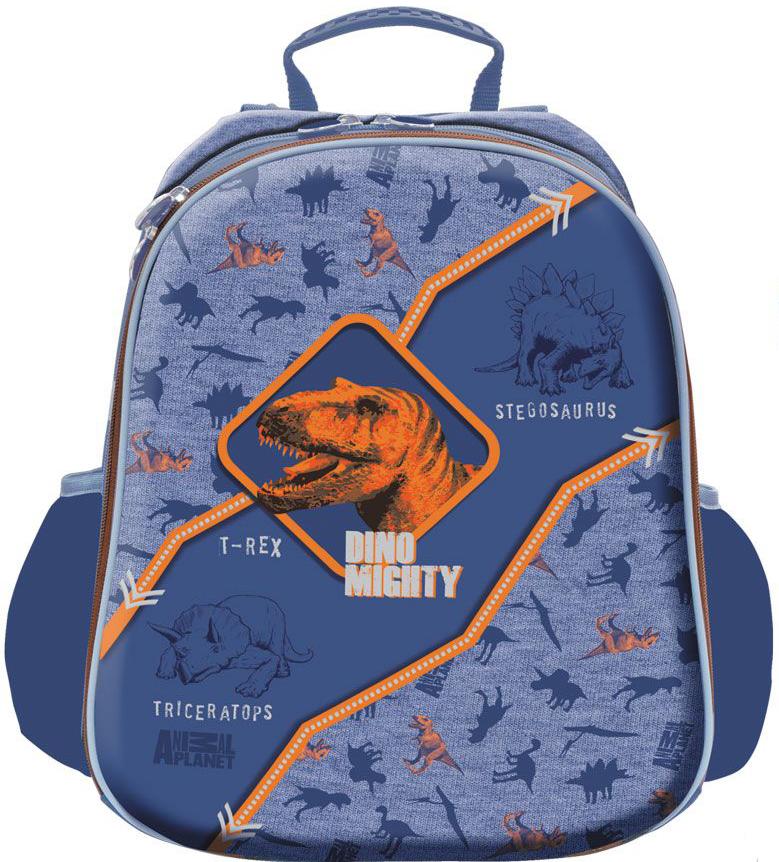 Action! Рюкзак школьный Animal Planet ДиноAP-ASB4614/2/17Лицензионный дизайн Animal Planet Дино. Для мальчиков начальной и средней школы. Рюкзак школьный, жесткий каркасный, с анатомический рельефной спинкой, повторяющей контуры спины, что создает максимальный комфорт при носке. Рюкзак имеет 2 просторных жестких отдела на молниях. Внутри основного отделения имеется разделитель для книг и тетрадей, который закрывается на липучку. Внутри другого отделения имеется органайзер для письменных принадлежностей, телефона и др. мелочей, с одной стороны. и с другой стороны, большой сетчатый карман. Светоотражающие полоски проходят по всему периметру лицевой стороны, имеются на боковых сторонах, и на задних реугулируемых лямках. Верхняя тканевая ручка в виде петли. Дно выполнено из непромокаемой водооткивающей ткани и имеет 2 резиновые антискользящие накладки. Вместимость рюкзака V=15 л, вес составляет не больше 1200 грамм.