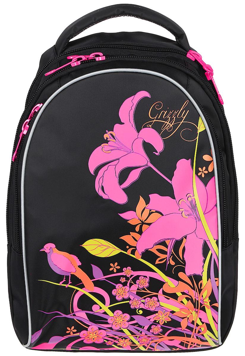 Grizzly Рюкзак детский цвет черный розовый RG-657-2/2RG-657-1_черныйДетский рюкзак Grizzly - это красивый и удобный рюкзак, который подойдет всем, кто хочет разнообразить свои школьные будни. Рюкзак выполнен из плотного материала и оформлен оригинальным цветочным принтом спереди. Рюкзак имеет два основных отделения, закрывающиеся на застежки-молнии с двумя бегунками, а также вместительный накладной карман спереди, внутри которого располагается большой накладной карман и три маленьких накладных кармашка для канцелярских принадлежностей. Бегунки дополнены удобными металлическими держателями с логотипом Grizzly. Самое большое отделение имеет небольшой карман на застежке-молнии. Второе отделение не имеет карманов. Рюкзак оснащен удобной текстильной ручкой для переноски в руке и светоотражающими элементами. Спинка дополнена эргономичными воздухопроницаемыми подушечками, которые обеспечивают удобство и комфортно при носке. Мягкие анатомические лямки скругленной формы регулируются по длине. Многофункциональный ...