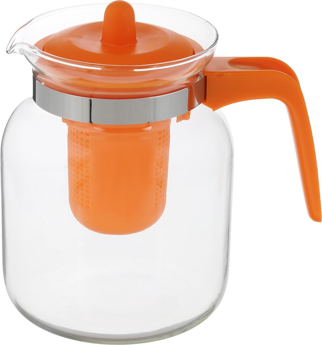 Чайник-кувшин Menu Чабрец, с фильтром, цвет: прозрачны, оранжевый, 1,45 лCHZ-14_оранжевыйЧайник-кувшин Menu Чабрец, с фильтром, цвет: прозрачны, оранжевый, 1,45 л