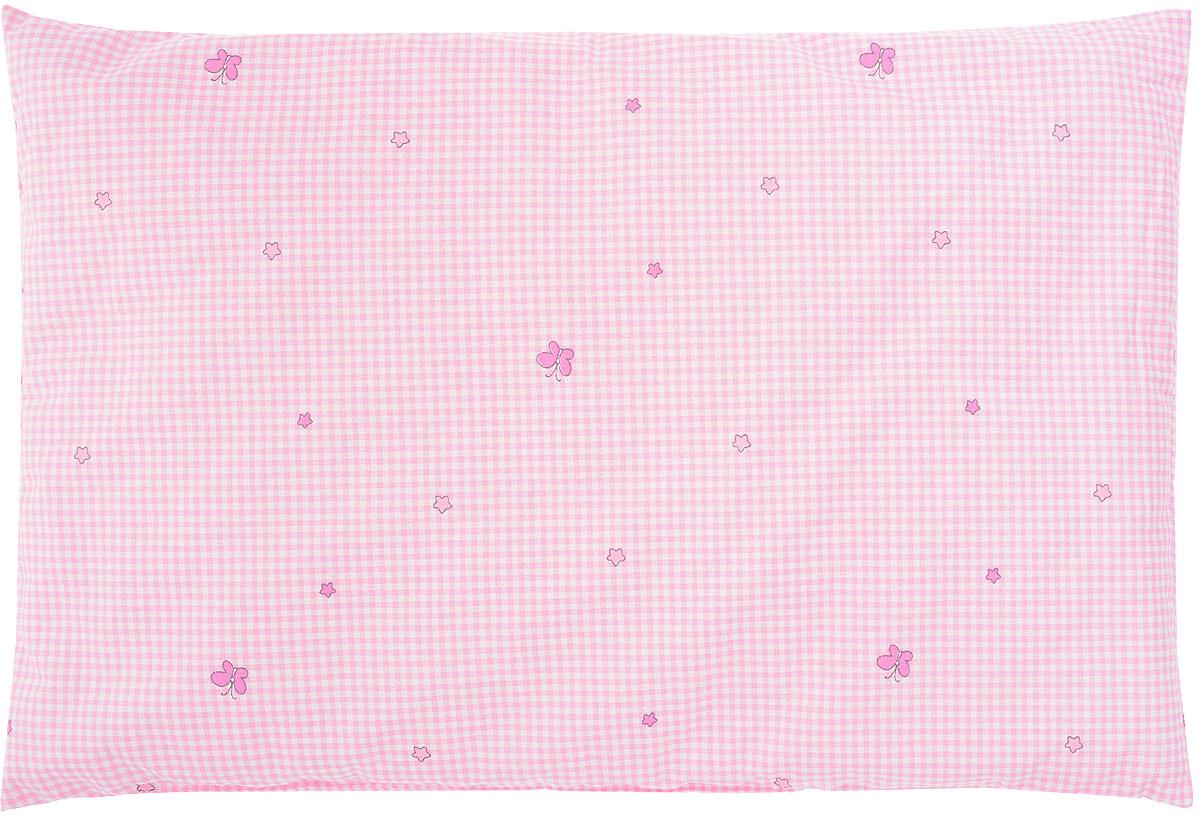 Сонный гномик Подушка детская Бабочки цвет розовый 60 х 40 см 555С_бабочки_розовый