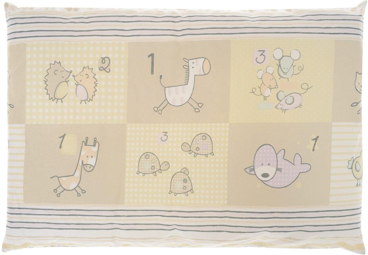 Сонный гномик Подушка детская Черепахи и птички цвет бежевый 60 х 40 см 555Б_бежевый