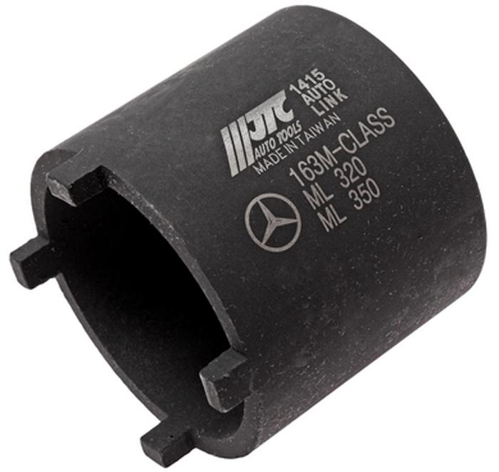 JTC Головка для работы с шаровыми опорами (Mercedes ML). JTC-1415JTC-1415Головка под ключ 3/4;. Используется для демонтажа стопорных колец , шаровых соединений Мерседес (Mercedes-Benz) М класса. Стопорное кольцо закручивается с усилием 300Нм. Применение: 163, 164ML-class , 251R-class передние и задние оси. Количество в оптовой упаковке: 36 шт. Габаритные размеры: 65/65/65 мм. (Д/Ш/В) Вес: 489 гр.
