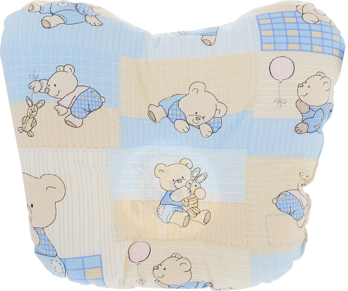 Сонный гномик Подушка анатомическая для младенцев Мишки и заяц цвет голубой бежевый 27 х 27 см 555А_голубой, бежевый