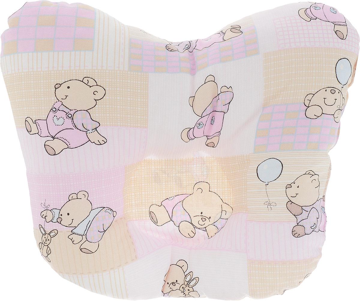 Сонный гномик Подушка анатомическая для младенцев Мишки и заяц цвет розовый бежевый 27 х 27 см 555А_розовый, бежевый