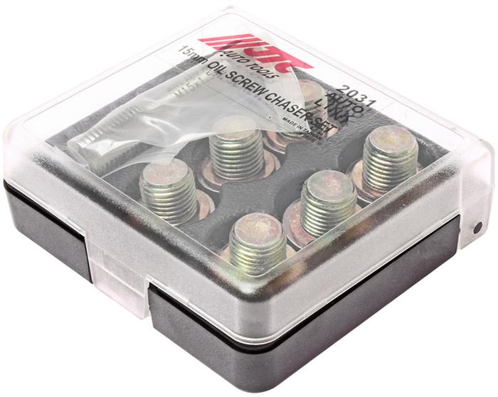 JTC Набор для ремонта маслосливных отверстий, 15 мм. JTC-2031JTC-2031Применяется для ремонта поврежденной или сорванной резьбы маслосливных отверстий двигателя размером 14 мм. Для восстановления резьбы используется метчик 15 мм. Затем ввинчивается заглушка 15 мм. с шайбой В комплекте: Метчик: М15х1.5 (1 шт.) Заглушки: М15 (6 шт.) Шайба медная: М15 (6 шт.) Габаритные размеры: 105/95/30 мм. (Д/Ш/В) Вес: 408 гр.