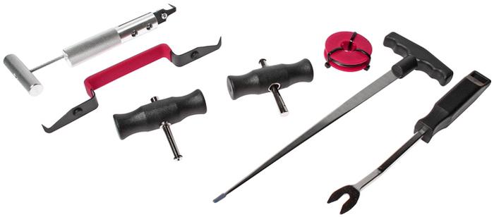 JTC Набор для демонтажа стекол, 7 предметов. JTC-2525JTC-2525В комплекте: Нож для демонтажа уплотнителя (JTC-2520). Струна (JTC-2522). Держатели (JTC-2522). Шило для заправки струн (JTC-2523). Инструмент для извлечения креплений. Инструмент для снятия лобового стекла. Количество в оптовой упаковке: 6 шт. и 12 шт. Габаритные размеры: 430/270/45 мм. (Д/Ш/В) Вес: 1170 гр.