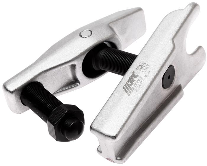 JTC Съемник шаровых опор рычажного типа. JTC-4643JTC-4643Предназначен для снятия шаровых опор, наконечников рулевой тяги, стабилизатора поперечной устойчивости и др. Диаметр 32 мм. Максимальный вылет: 80 мм. Количество в оптовой упаковке: 10 шт. Габаритные размеры: 180/120/95 мм. (Д/Ш/В) Вес: 2449 гр.
