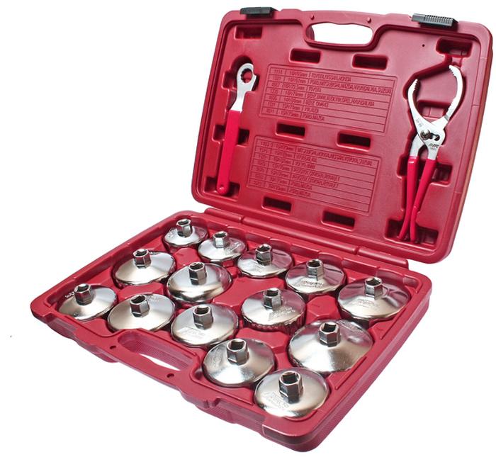 JTC Набор съемников масляных фильтров, 16 шт. JTC-4666JTC-4666Съемник масляного фильтра чашка набор 16 шт. JTC Характеристики Применяется с инструментом под квадрат 1/2 или ключом 21 мм. Головки изготовлены из стали. В комплекте: 14 головок для масляного фильтра: JTC-1114 - 65/14 граней (TOYOTA, NISSAN) JTC-1021 - 67/14 граней (FORD, MITSUBISHI, MAZDA) JTC-1235 - 74/14 граней (МВ, ВМW, AUDI, VW, OPEL) JTC-1403 - 79 мм/15 граней (MITSUBISHI, HONDA, NISSAN, TOYOTA) JTC-1515 - 82 мм/15 граней (HYUNDAI, KIA) JTC-1521 - 74 мм/15 граней (VW, AUDI) JTC-1523 - 99 мм/15 граней (TOYOTA) JTC-4670 - 86 мм/18 граней (французы) JTC-4695 - 84 мм/14 граней (BENZ OM642) 1 клещи для масляного фильтра JTC-1601. 1 ключ накидной 21 мм/12 граней. Упаковка: прочный переносной кейс. Габаритные размеры: 435/320/85 мм. (Д/Ш/В) Вес: 4428 г.