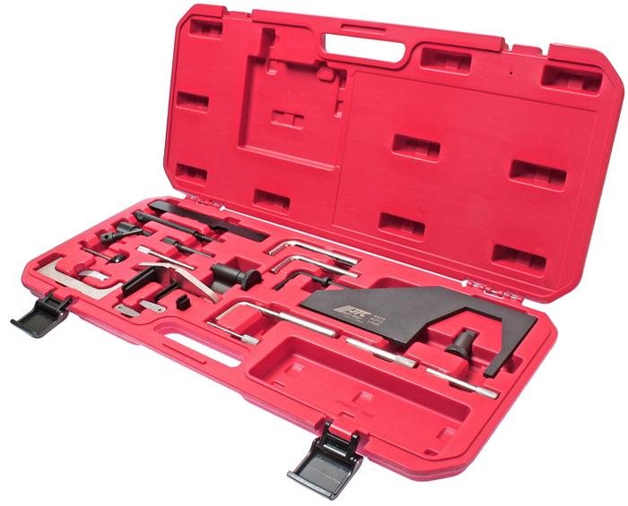 JTC Набор фиксаторов распредвала для установки фаз ГРМ (Ford, Mazda). JTC-4676JTC-4676Данный комплект фиксаторов позволяет проводить корректную установку фаз ГРМ двигателя при замене приводного ремня. Основное назначение инструмента для Форд (Ford): регулировка зажигания (фаз ГРМ). В комплекте: Фиксирующие штифты (прямые, в мм.): 8,9/11,6/4,9/7,1/6/15,5. Фиксирующие штифты (угловые 90°, в мм.): 6/9.5/12.7/14. Пластина для фиксации распредвалов (прямая). Комплект щупов: 0.2 мм. и 0.3 мм. Применение: Форд (Ford) и Мазда (Mazda). Упаковка: прочный переносной кейс. Количество в оптовой упаковке: 5 шт. Габаритные размеры: 595/270/50 мм. (Д/Ш/В) Вес: 3381 гр.