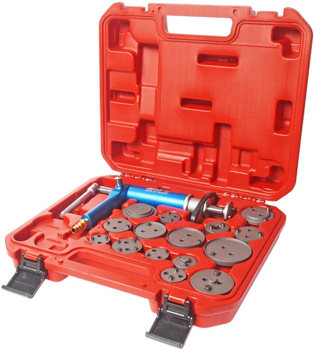 JTC Набор для обслуживания тормозных цилиндров. JTC-4687JTC-4687При помощи пневматического привода создается необходимое давление для разводки поршней тормозных цилиндров. Рукоять фиксирует поршень в сжатом положении. Комплект используется для разведения тормозных поршней. Подходит для любых марок автомобилей. В комплекте: пневмопривод и 15 адаптеров. Упаковка: прочный переносной бокс. Габаритные размеры: 340/310/90 мм. (Д/Ш/В) Вес: 3055 гр.