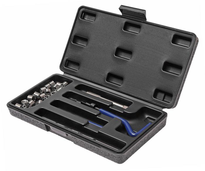 JTC Набор для восстановления резьбы (вставки M10x1,5, длина 13,5 мм, 10 шт), 14 предметов. JTC-4784JTC-4784В комплекте 14 предметов В комплект входят: сверло, метчик, установочный инструмент, инструмент для обламывания хвостовика, резьбовые вставки Размеры: М10х1.5 Длина: 13.5 мм. Количество резьбовых вставок: 10 шт. Упаковка: прочный пластиковый кейс. Габаритные размеры: 250/125/40 мм. (Д/Ш/В) Вес: 475 гр.