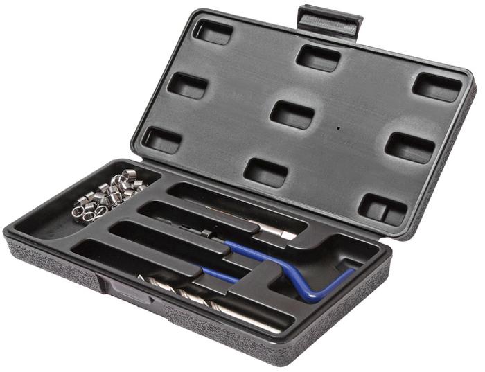 JTC Набор для восстановления резьбы (вставки M14x1,25, длина 12,4 мм, 5 шт), 9 предметов. JTC-4788JTC-4788В комплекте 9 предметов В комплект входят: сверло, метчик, установочный инструмент, инструмент для обламывания хвостовика, резьбовые вставки Размеры: М14х1.25 Длина: 12.4 мм. Количество резьбовых вставок: 5 шт. Упаковка: прочный пластиковый кейс. Габаритные размеры: 165/110/35 мм. (Д/Ш/В) Вес: 688 гр.
