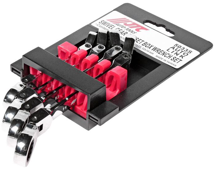 JTC Набор ключей накидных трещоточных с подвижной головкой 8-14 мм, 4 предмета. JTC-5033SJTC-5033SПредназначены для проведения ремонтных работ автомобиля. Ключи сделаны из прочной хром-ванадиевой стали с зеркальной полировкой. Ключи обладают уникальным 72-зубцовым механизмом, обеспечивающим высокий крутящий момент. Угол перемещения механизма в 5° позволяет использовать инструменты в узких и труднодоступных местах автомобиля. В комплекте: 8х10, 10х12, 11х13, 12х14 мм. Общее количество ключей: 4 шт. Габаритные размеры: 225/110/40 мм. (Д/Ш/В) Вес: 504 гр.