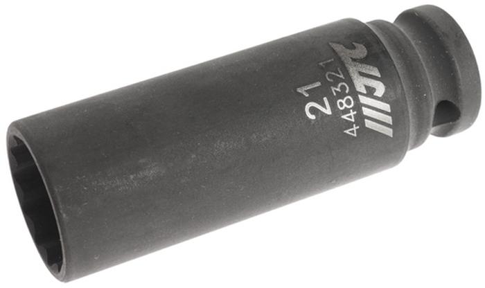 """JTC Головка торцевая ударная тонкостенная 12-гранная 1/2 х 21 мм, длина 82 мм. JTC-448321JTC-4483216 граней, метрический размер. Общая длина: 82 мм. Размер: 1/2"""" Dr.х21 мм. Изготовлена из высококачественной хром-молибденовой стали. Габаритные размеры: 82/20/20 мм. (Д/Ш/В) Вес: 200 гр."""