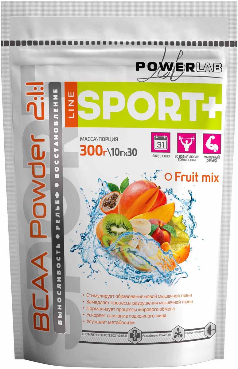 """ВСАА PowerLab """"Powder"""", фруктовый, 300 г 4607001836667"""