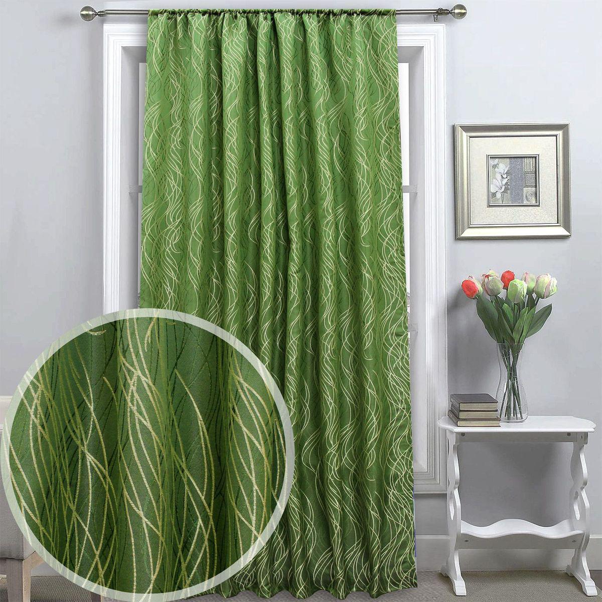 Штора Amore Mio, 145 х 270 см, 1 шт., цвет: зеленый. 8604386043