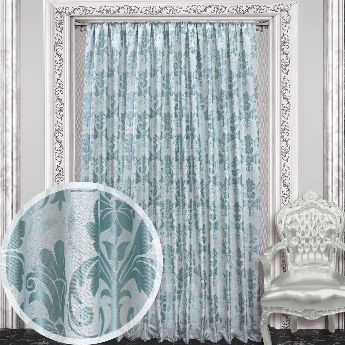 Штора Amore Mio, 200 х 270 см, 1 шт., цвет: серый, ментоловый. 8605086050