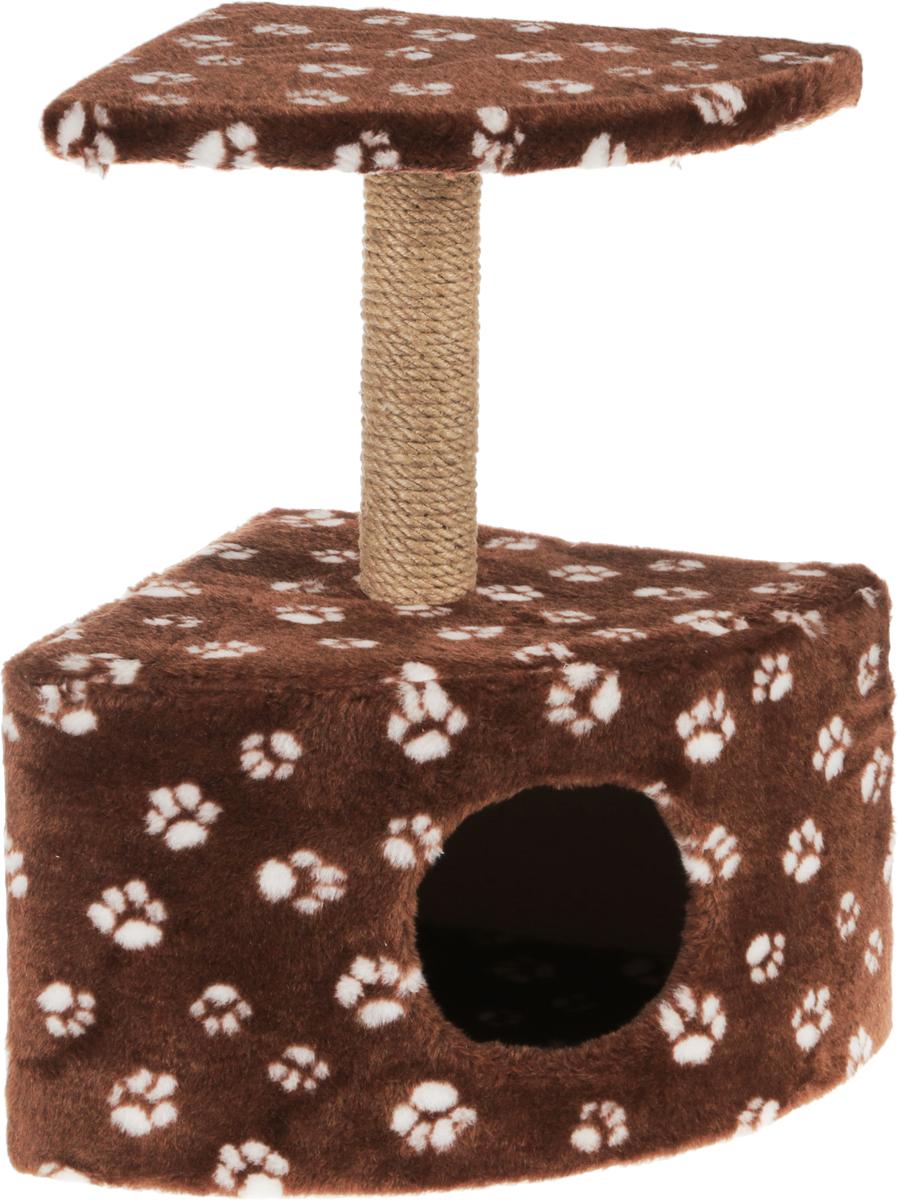 Игровой комплекс для кошек Меридиан, с домиком и когтеточкой, цвет: коричневый, белыйД411 Ла_коричневый, белыйИгровой комплекс для кошек Меридиан выполнен из высококачественного ДВП и ДСП и обтянут искусственным мехом. Изделие предназначено для кошек. Ваш домашний питомец будет с удовольствием точить когти о специальный столбик, изготовленный из джута. А отдохнуть он сможет либо на полке, находящейся наверху столбика, либо в расположенном внизу домике.