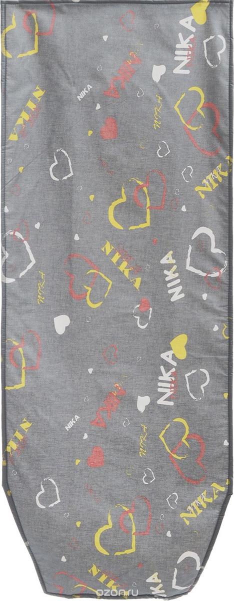 Чехол для гладильной доски Eva Сердечки, цвет: серый, 120 см х 40 смЕ12_серый, сердечкиЧехол для гладильной доски Eva Сердечки, цвет: серый, 120 см х 40 см