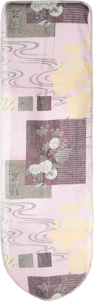 Чехол для гладильной доски Eva, цвет: розовый, бордовый, 120 см х 38 смЕ13_розовый, бордовыйЧехол для гладильной доски Eva, цвет: розовый, бордовый, 120 см х 38 см