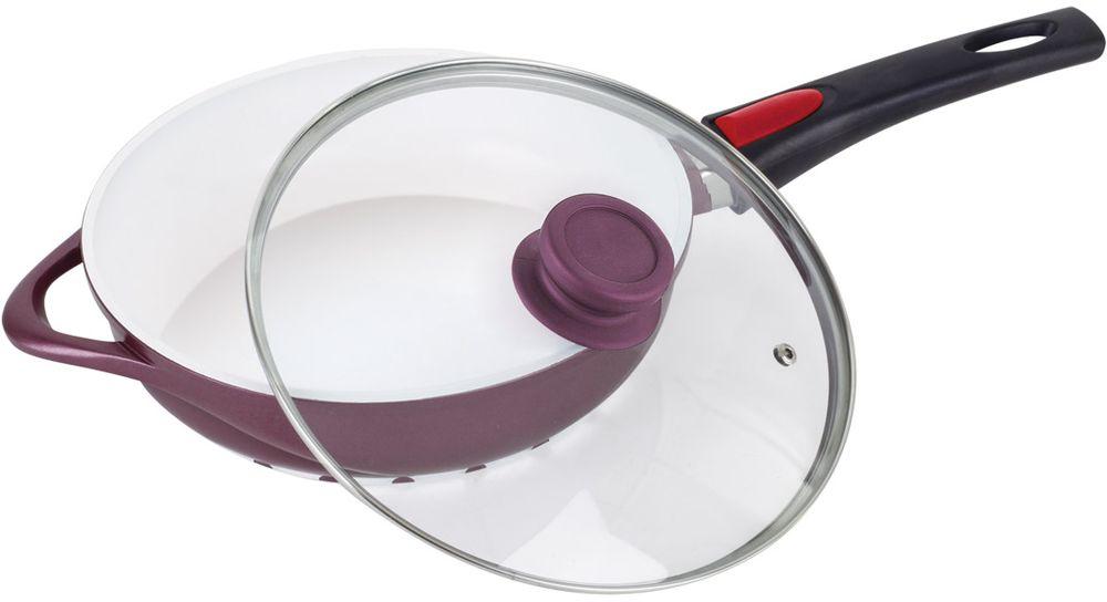 Сковорода Barton Steel с крышкой, с антипригарным пркрытием, диаметр 24 см7944BSNEWСковорода из алюминия с крышкой, внутри с антипригарным керамическим белым покрытием. Стеклянная крышка с пароотводом. Съемная бакелитовая ручка. Можно мыть в посудомоечной машине. Подходит для индукционных плит. Размер: 24 х 6,5см. 2,5л.