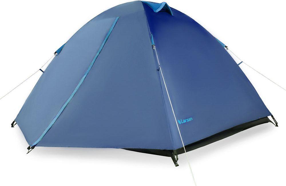 Палатка Larsen A2, 2-х местная, цвет: синий, голубой. N/S (613)52470Размеры внутренних палаток: 210 х 150 х 110 см Материал тента: полиэстер 75D/190T PU Материал внутренних палаток: дышащий полиэстер Материал пола: армированный полиэтилен 140 г/кв м Дуги: фиберглас, 7,9 мм Водонепроницаемость тента: 2000 мм Размеры палатки: 270 х 160 х 110 см Вес: 2,90 кг Тамбур: 50 см Антимоскитная сетка : + Проклеенные швы: + Вентиляционные отверстия: 3
