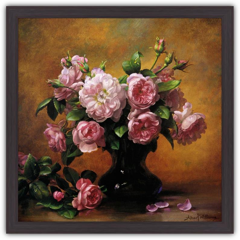 Картина (репродукция) - Из розового сада (Розовые розы в вазе) - Альбер Вильямс - 60 см х 60 см - рама Фристайл