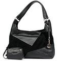 """Симпатичная сумка  """"Edmins """" выполнена из натуральной кожи и замши черного..."""