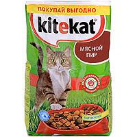 """Корм сухой для кошек """"Kitekat"""", мясной пир"""