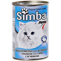 """Консервы для кошек """"Simba"""", с ягненком"""