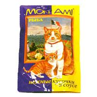 """Консервы для кошек """"MonAmi"""", с рыбой в соусе"""