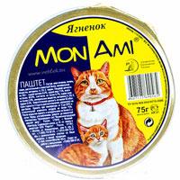 """Консервы для кошек """"MonAmi"""", паштет с ягненком"""
