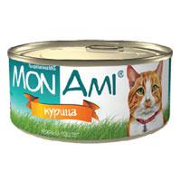 """Консервы для кошек """"MonAmi"""", нежный паштет с курицей"""