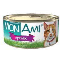"""Консервы для кошек """"MonAmi"""", нежный паштет с кроликом"""