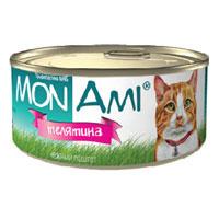 """Консервы для кошек """"MonAmi"""", нежный паштет с телятиной"""