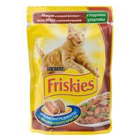 """Консервы для кошек """"Friskies"""", с мясом и зеленой фасолью"""
