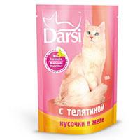 """Консервы """"Darsi"""", для кошек, с телятиной в желе"""
