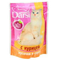 """Консервы """"Darsi"""", для кошек, кусочки с курицей в соусе"""