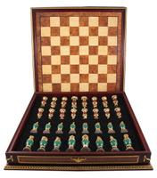 шахматы. красное дерево, черное (эбеновое) дерево, позолота, хризопраз, агат. западная европа, фаберже, 1980-1990-е гг