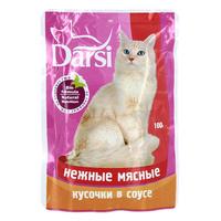 """Консервы """"Darsi"""", для кошек, с нежными мясными кусочками в соусе"""