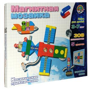 Настольная игра Космические приключения, Магнитная мозаика 308 элементов