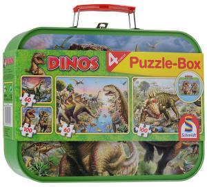 Настольная игра Динозавры, в чемоданчике. Набор пазлов 320 элементов