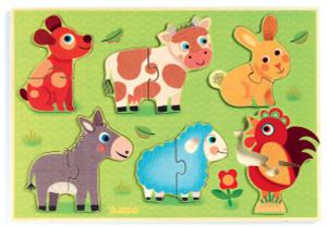 Настольная игра Животные на лугу. Пазл для малышей